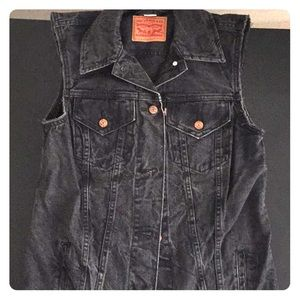 Levi's Long Gray Denim Vest